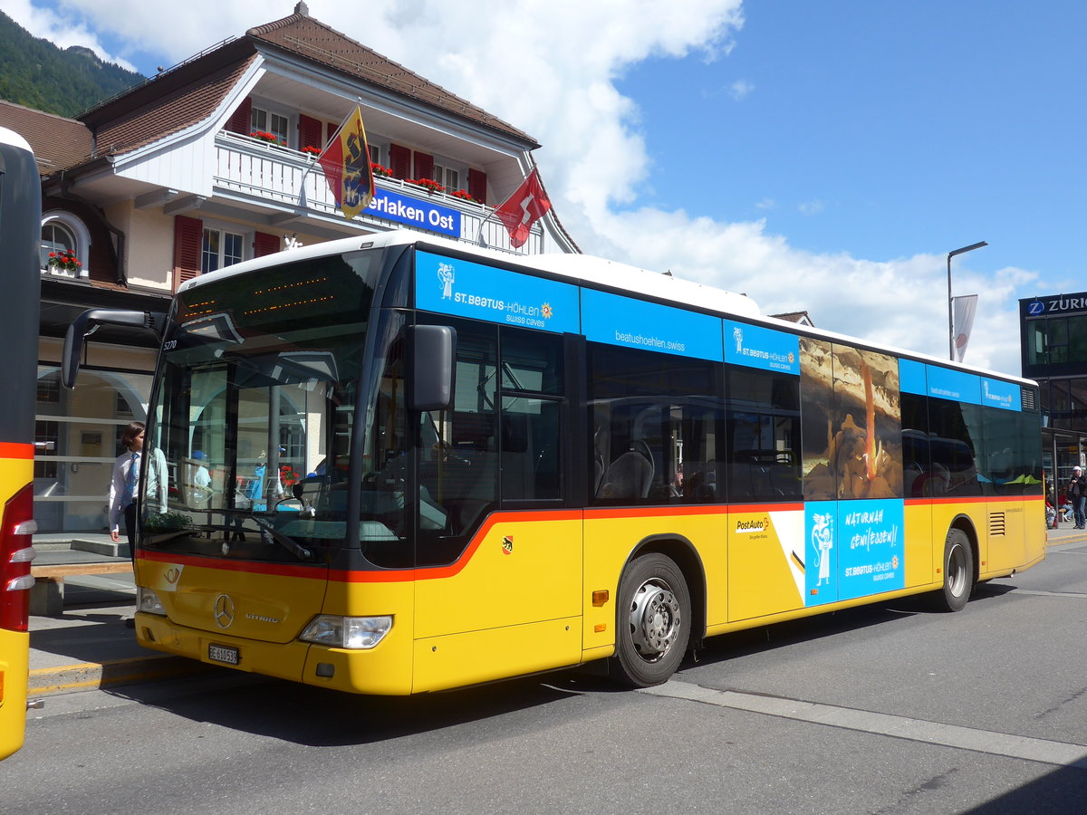 (184'553) - PostAuto Bern - BE 610'539 - Mercedes (ex BE 700'281; ex Schmocker, Stechelberg Nr. 2) am 3. September 2017 beim Bahnhof Interlaken Ost