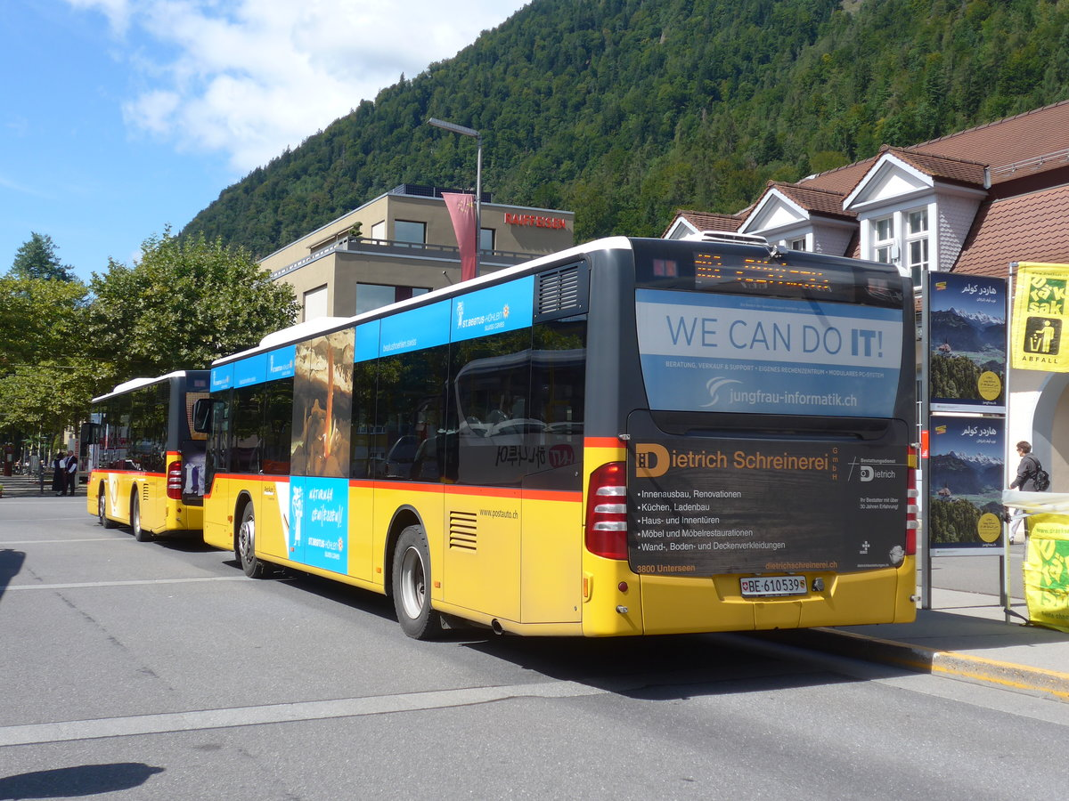 (184'554) - PostAuto Bern - BE 610'539 - Mercedes (ex BE 700'281; ex Schmocker, Stechelberg Nr. 2) am 3. September 2017 beim Bahnhof Interlaken Ost