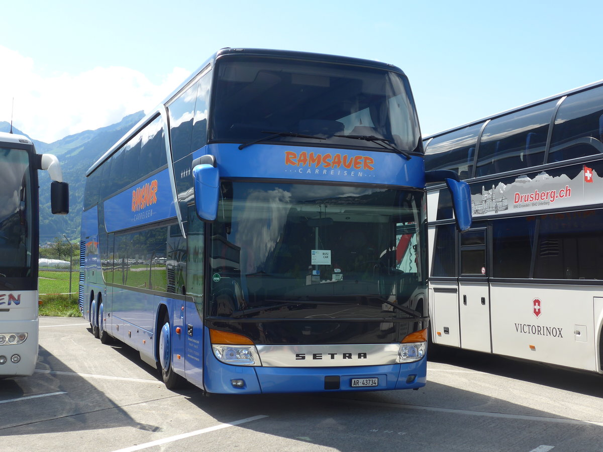 (184'592) - Ramsauer, Herisau - AR 43'734 - Setra am 3. September 2017 in Interlaken, Flugplatz