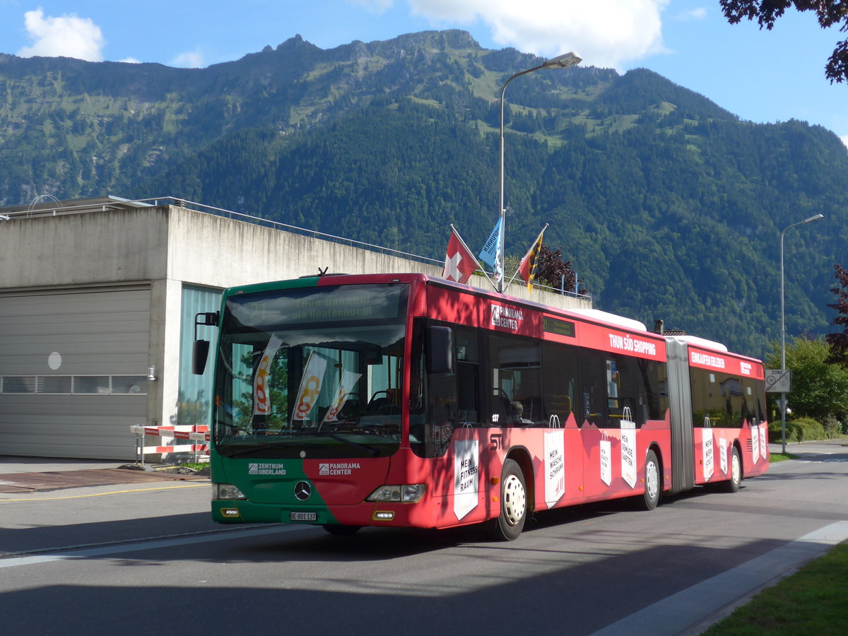 (184'620) - STI Thun - Nr. 137/BE 801'137 - Mercedes am 3. September 2017 beim Bahnhof Interlaken Ost