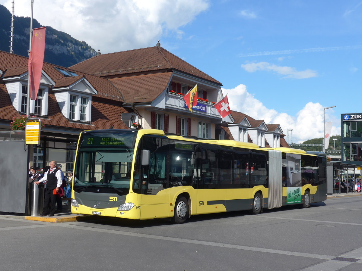 (184'635) - STI Thun - Nr. 166/BE 752'166 - Mercedes am 3. September 2017 beim Bahnhof Interlaken Ost