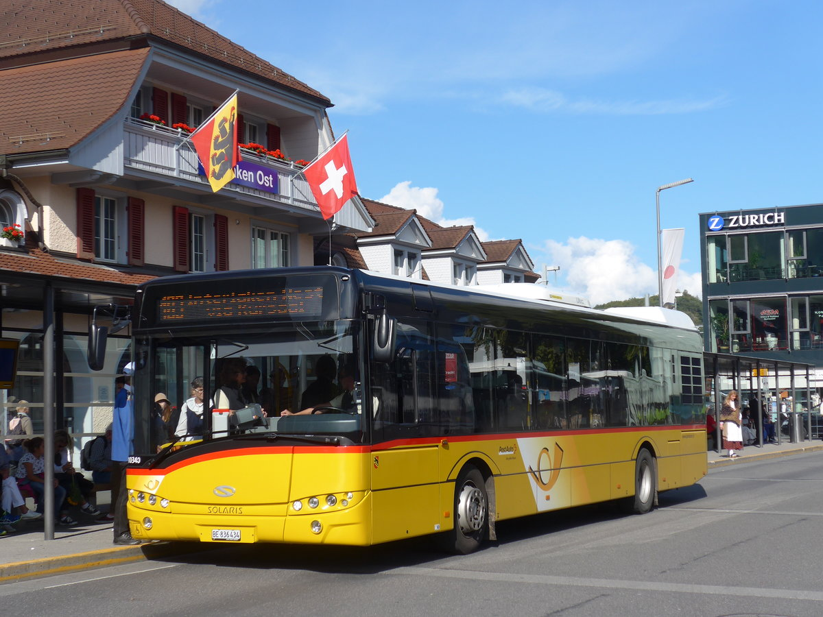 (184'644) - PostAuto Bern - BE 836'434 - Solaris (ex Nr. 581) am 3. September 2017 beim Bahnhof Interlaken Ost