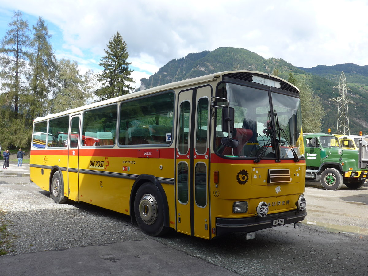 (184'995) - Fässler, Unteriberg - Nr. 6/SZ 5232 - Saurer/R&J (ex Schürch, Gutenburg Nr. 6; ex P 24'358) am 16. September 2017 in Cazis, Bündner Arena