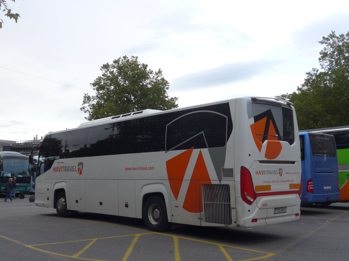 (185'071) - Aus Rumänien: Havi Travel, Tirgu Mures - Nr. 395/IF 02 HAV - Scania/Higer am 16. September 2017 in Zürich, Sihlquai