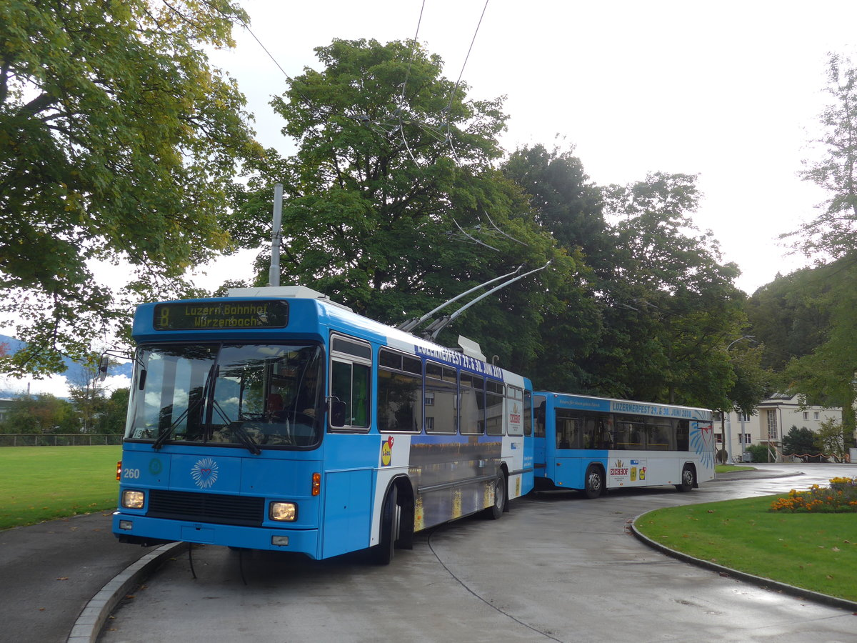 (185'157) - VBL Luzern - Nr. 260 - NAW/R&J-Hess Trolleybus am 18. September 2017 in Luzern, Hirtenhof