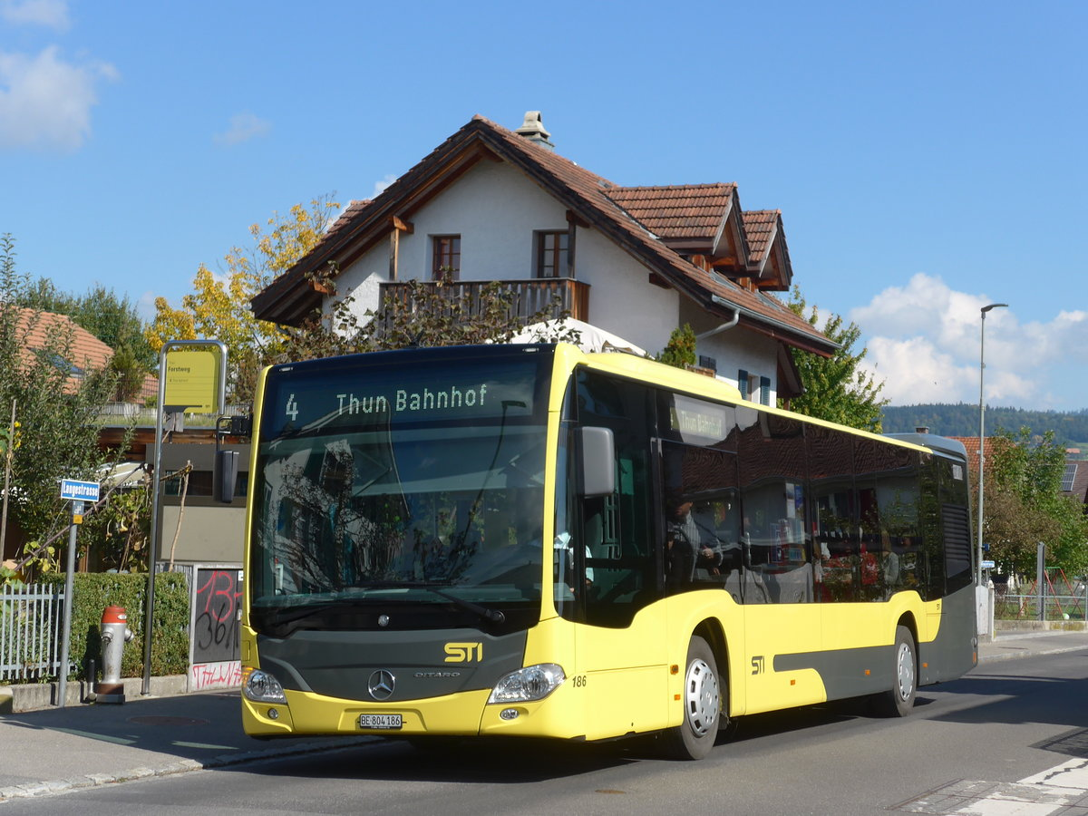 (185'191) - STI Thun - Nr. 186/BE 804'186 - Mercedes am 24. September 2017 in Thun-Lerchenfeld, Forstweg