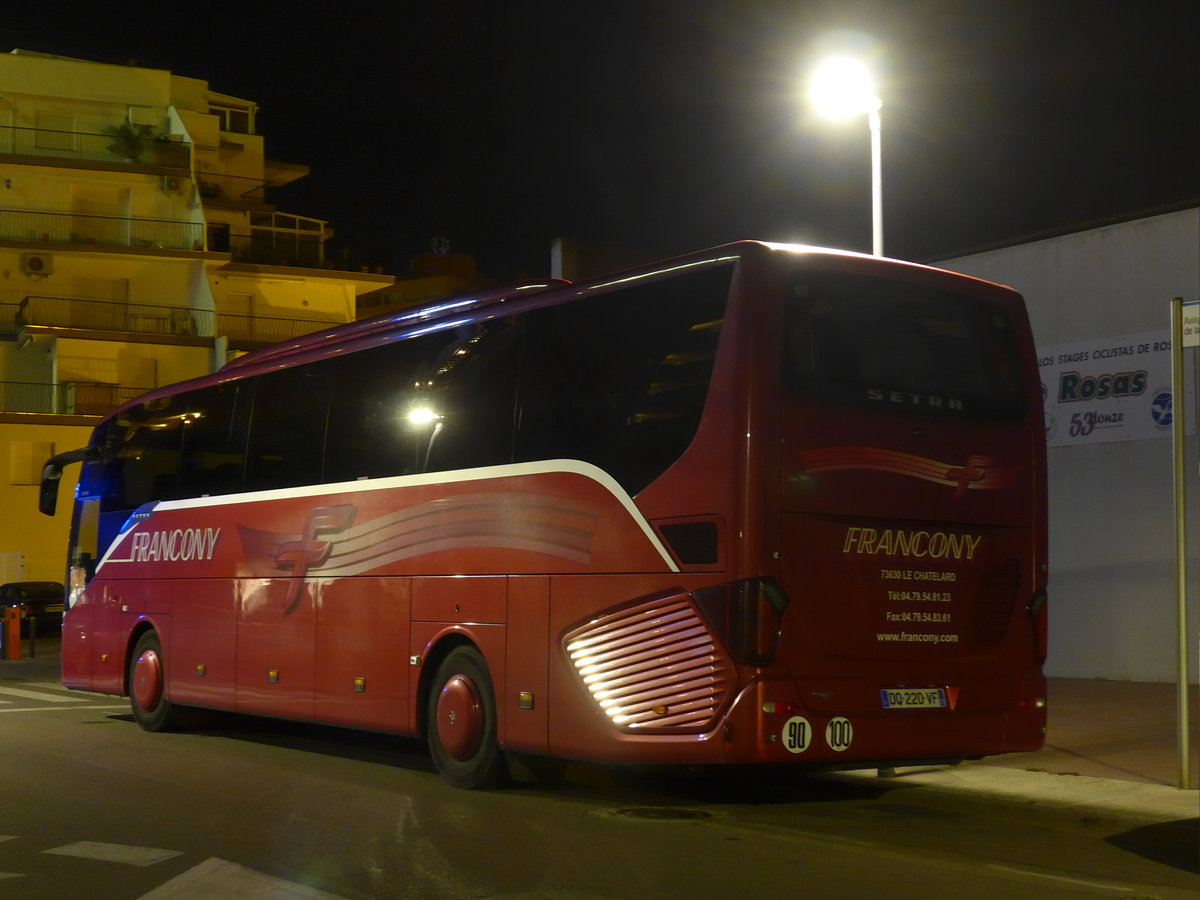 (185'703) - Aus Frankreich: Francony, Le Châtelard - DQ 220 VF - Setra am 29. September 2017 in Roses, Hotel Sant Marc