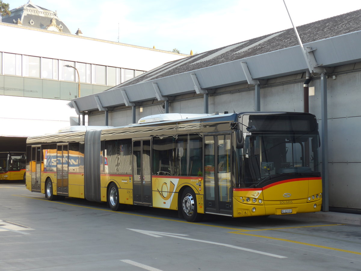 (185'991) - PostAuto Bern - Nr. 681/BE 820'681 - Solaris am 21. Oktober 2017 in Bern, Postautostation