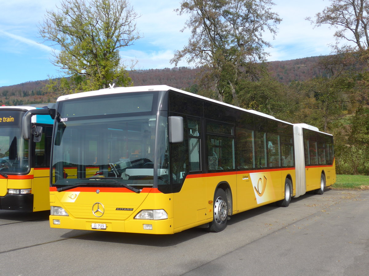 (186'028) - CarPostal Ouest - JU 7589 - Mercedes (ex Nr. 72; ex Stucki, Porrentruy Nr. 12) am 21. Oktober 2017 in Develier, Parkplatz