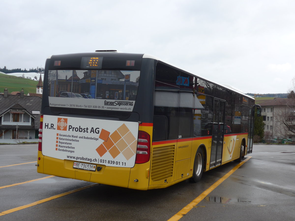 (189'795) - PostAuto Bern - Nr. 536/BE 734'536 - Mercedes am 1. April 2018 beim Bahnhof Biglen