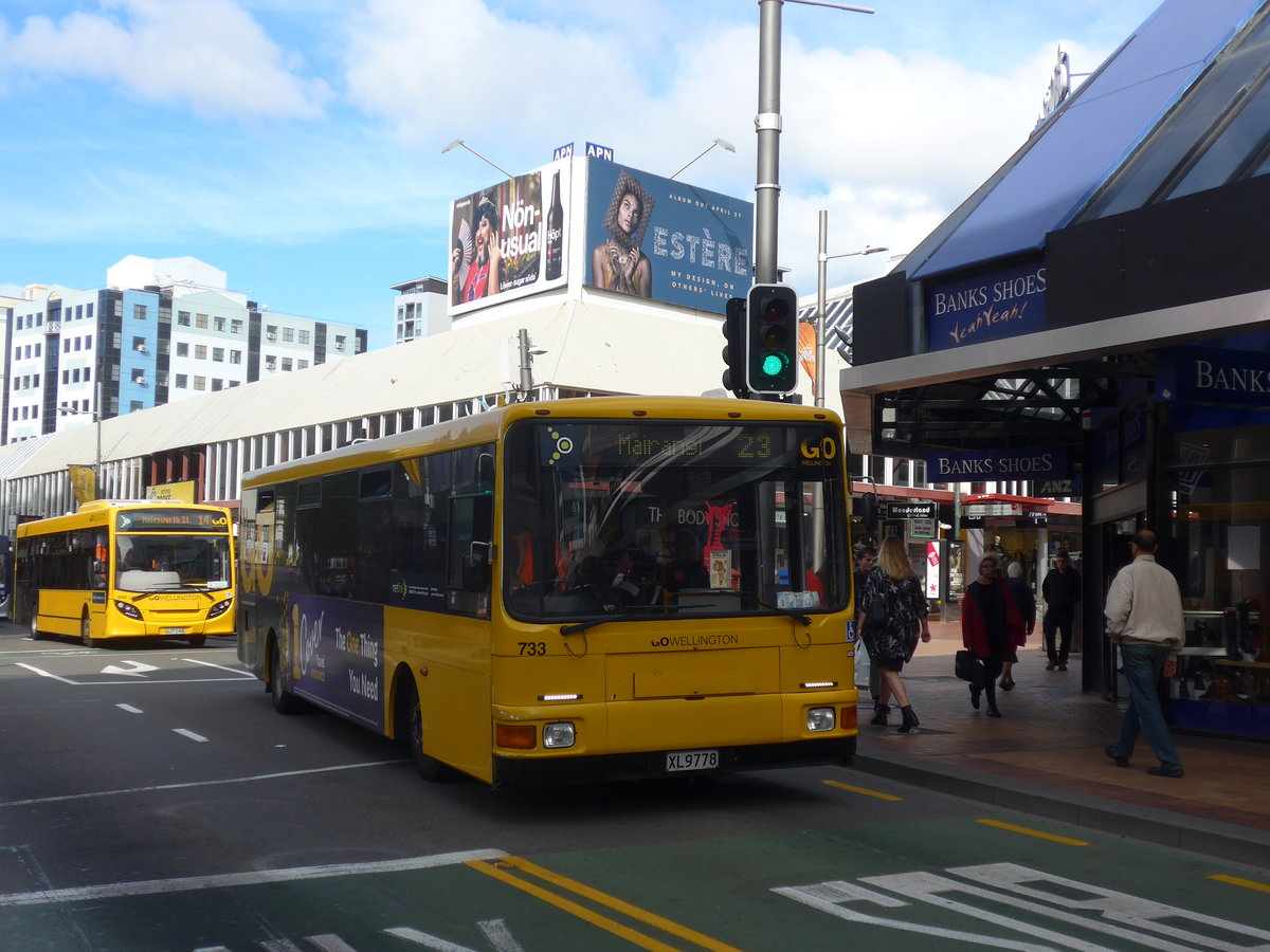 (191'730) - GO Wellington - Nr. 733/XL9778 - MAN/Designline (ex Stagecoach, Auckland Nr. 733) am 27. April 2018 in Wellington