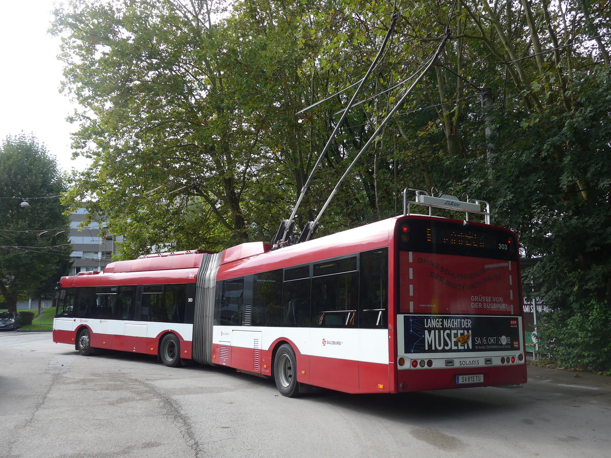(197'544) - OBUS Salzburg - Nr. 303/S 812 TU - Solaris Gelenktrolleybus am 14. September 2018 in Salzburg, Itzling West
