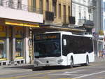 (224'703) - Interbus, Yverdon - Nr. 46/NE 231'046 - Mercedes (ex Oesterreich) am 2. April 2021 beim Bahnhof La Chaux-de-Fonds (Einsatz CarPostal)